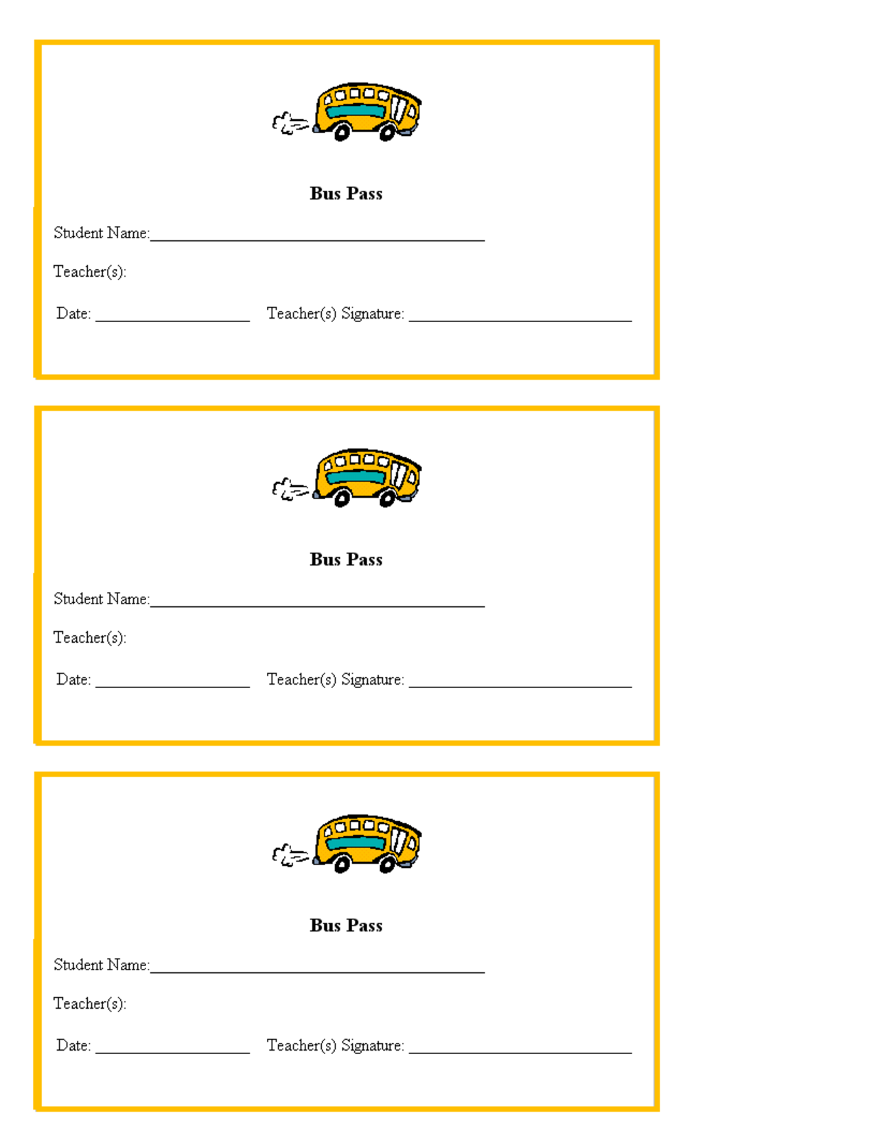 Pass Template Bus Teacher Teachers Hall Ticket Form Passes School Free Printables For Pass