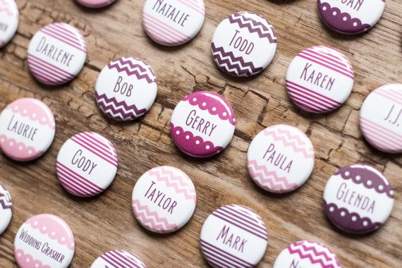 Button Escort Cards Wedding Name Tags Place By Bethofalltrades