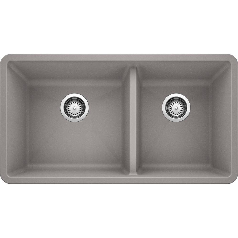 Blanco Precis Undermount Granite Composite 33 In 60 40 Double Bowl Kitchen Sink In Metallic Gray In 2020 Double Basin Undermount Kitchen Sinks Kitchen Sink