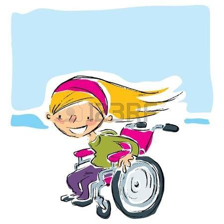Discapacitados Felices Feliz De Dibujos Animados Sonriente Chica Rubia En Una Silla De Ruedas Manual De Magenta En Movimi Ilustraciones Discapacitados Dibujos