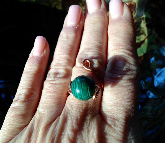 Malachite and Copper Freeform Ring by PeaceLoveandBaubles on Etsy