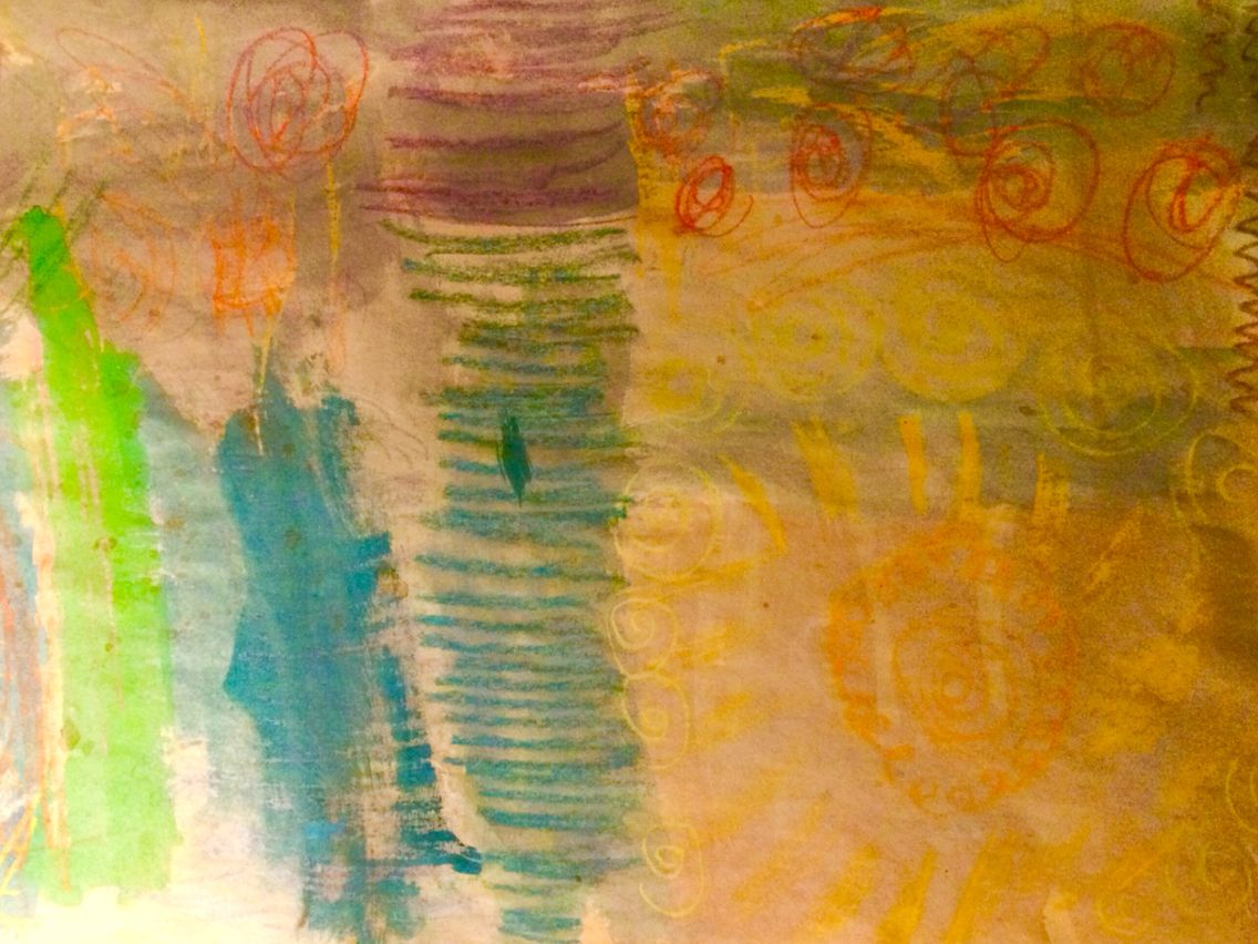 Mixed Media 1st Crayon And 2nd Watercolors Colorful