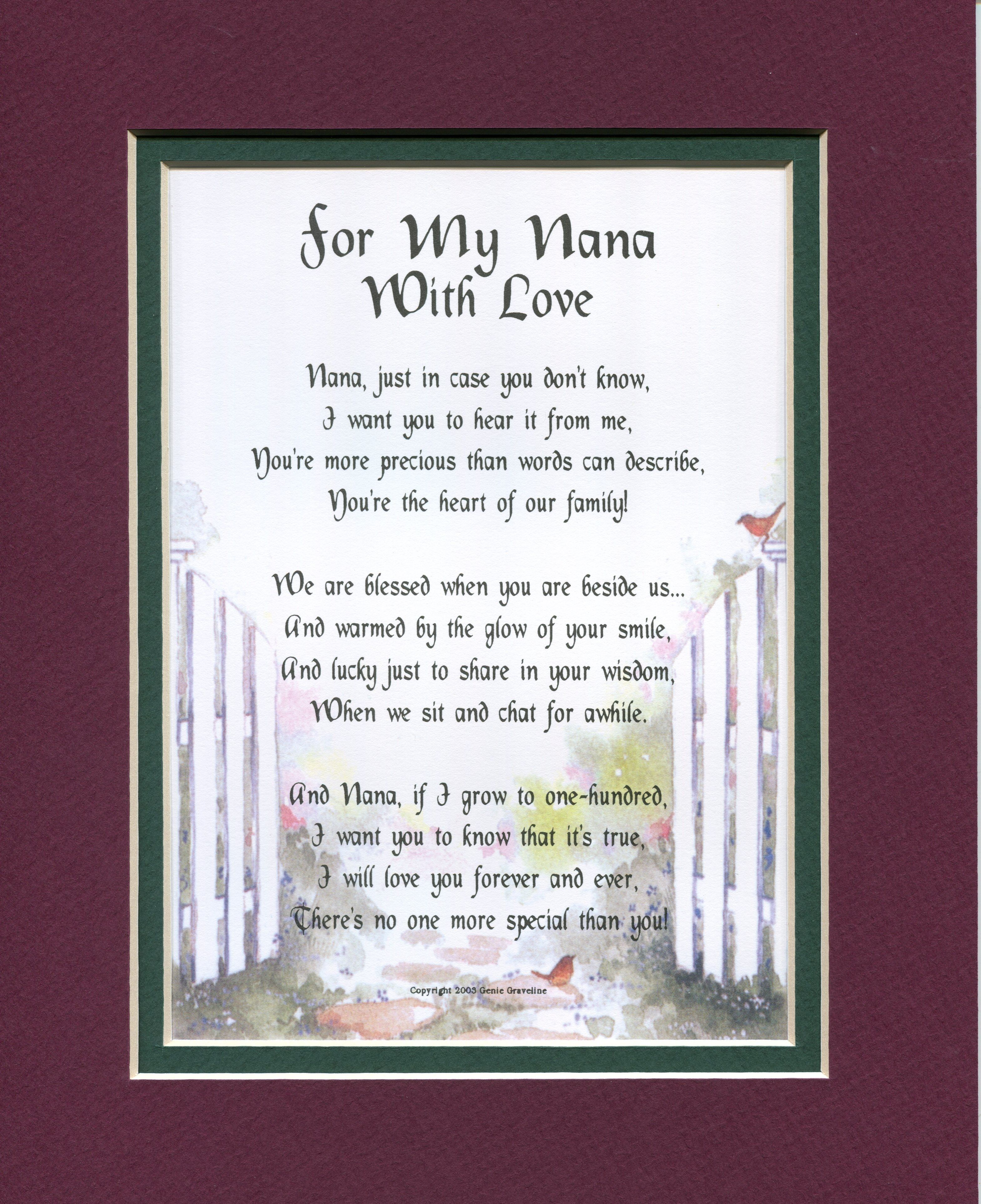 For my nana with love nana gifts mom poems daughter poems