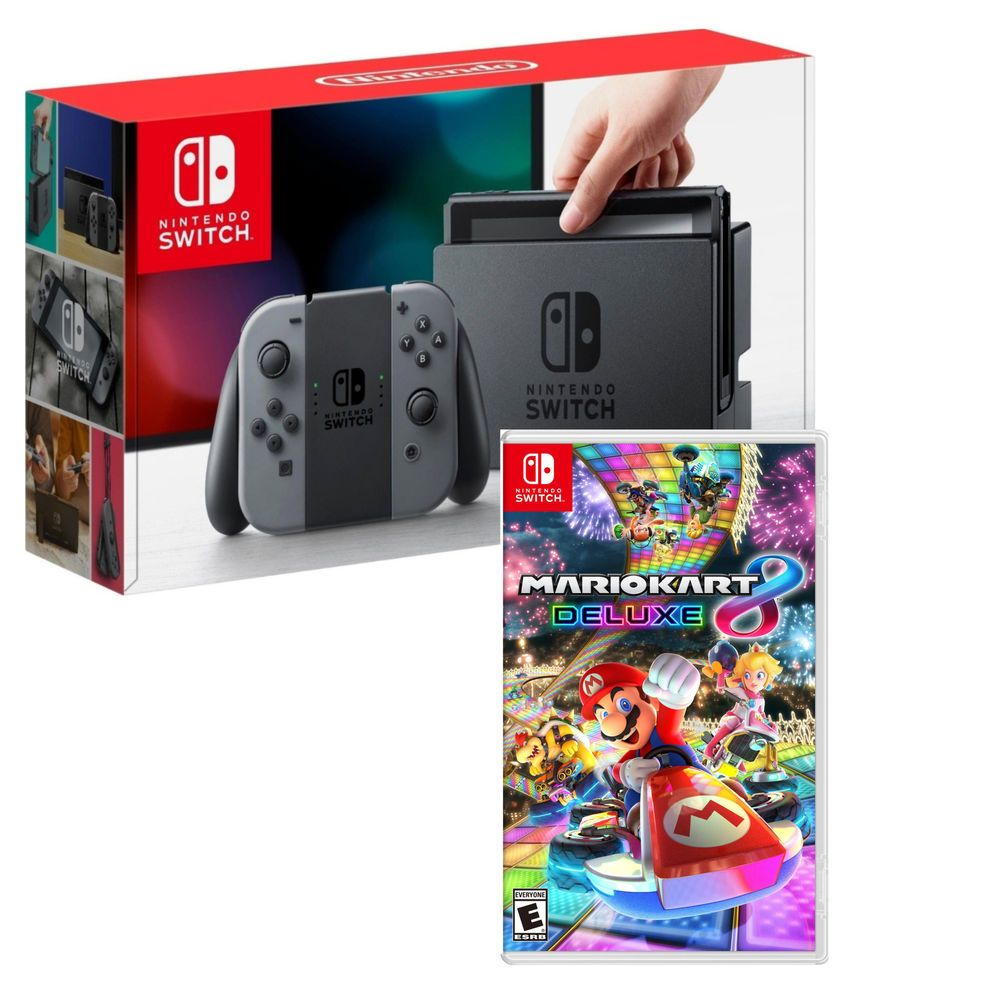 New Nintendo Switch 32gb Gray Console Mario Kart 8 Deluxe