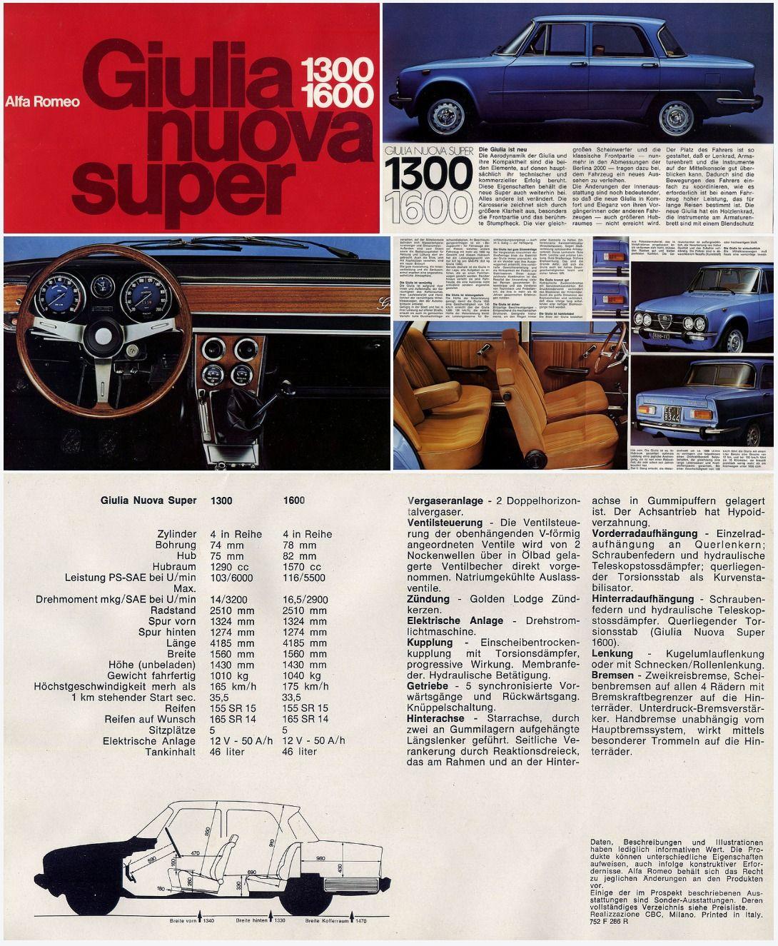 Brochure Alfa Romeo Giulia Nuova Super (avec Images