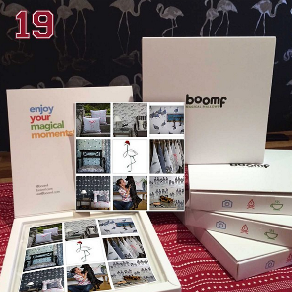19th December - This years Christmas present to our biggest clients was a hand made Santa flamingo card and a box of these @boomf marshmallows branded with images of our wallpapers, fabrics and cushions on the top. #juliettraversadventcalendar #christmas