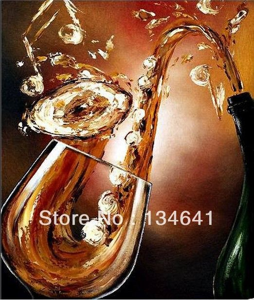 Modern Abstract Painting Music Wine Glasses Hand Painted Cups Home Decoration Wall Art Canvas Decor Pictures Free Shipping $35.98