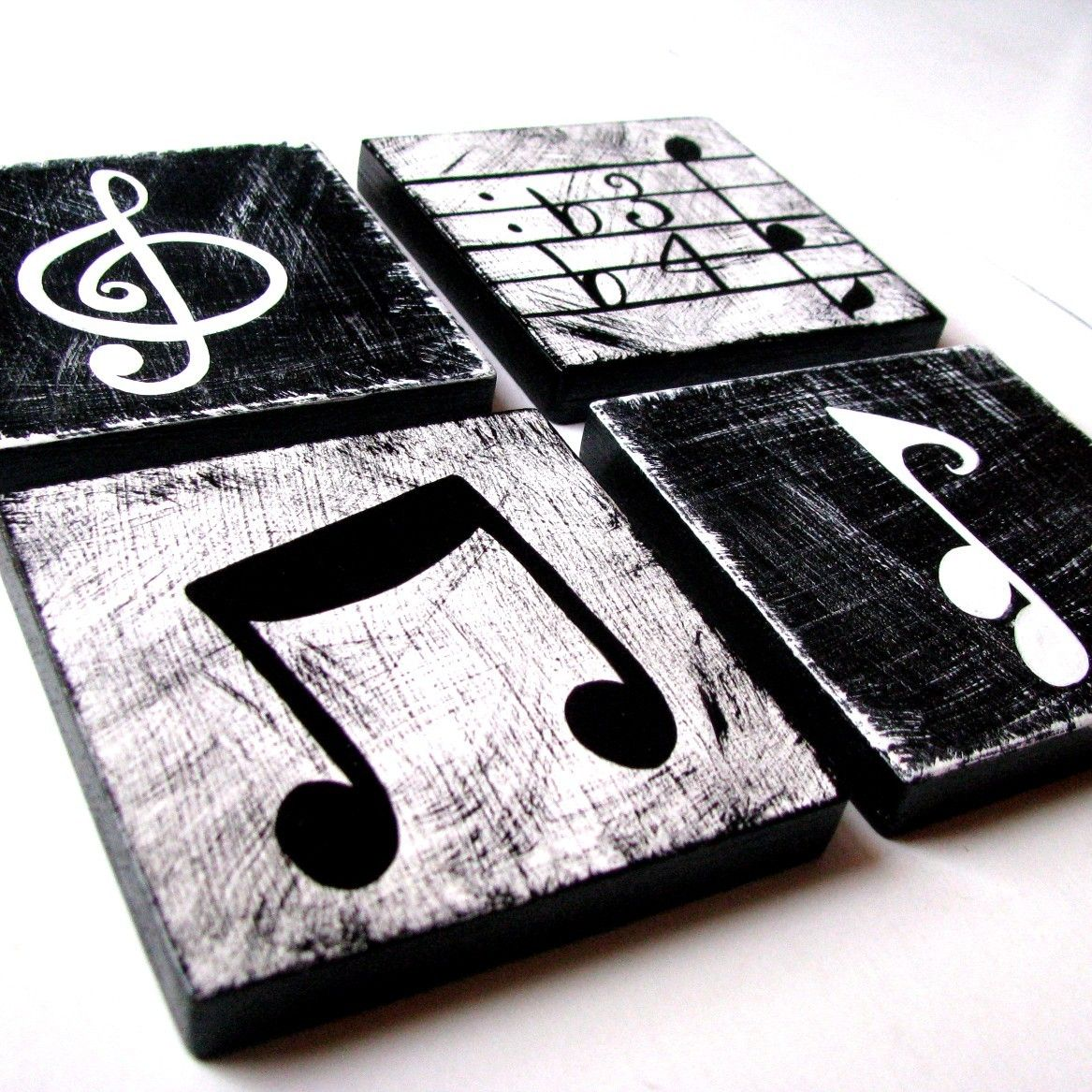 Music Inspired Black And White Wall Art Tiles Set Of 4 Music Themed Decor Music Room Decor Music Decor