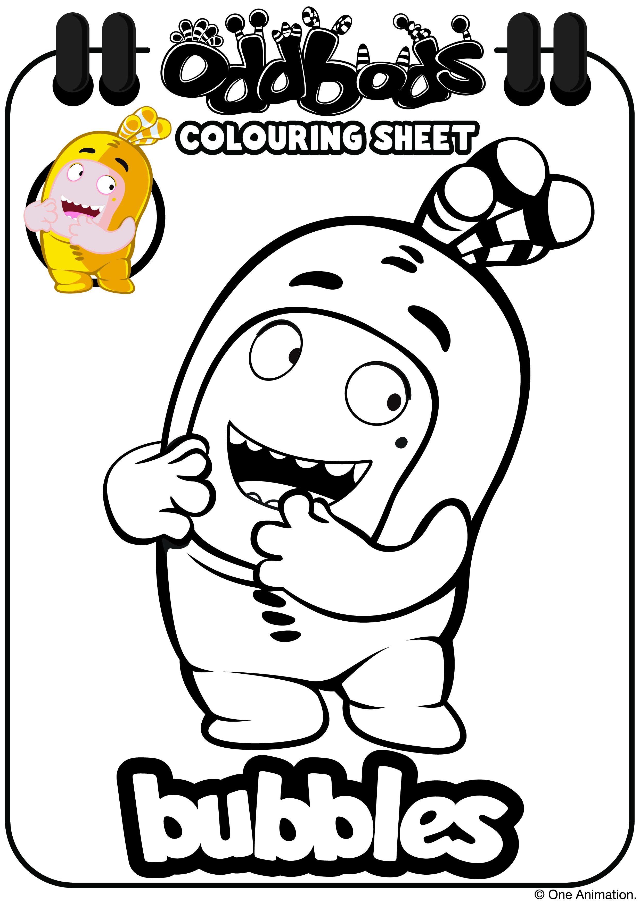 Oddbods Colouring Sheet Bubbles Kids Coloring Books Coloring Books Spider Coloring Page