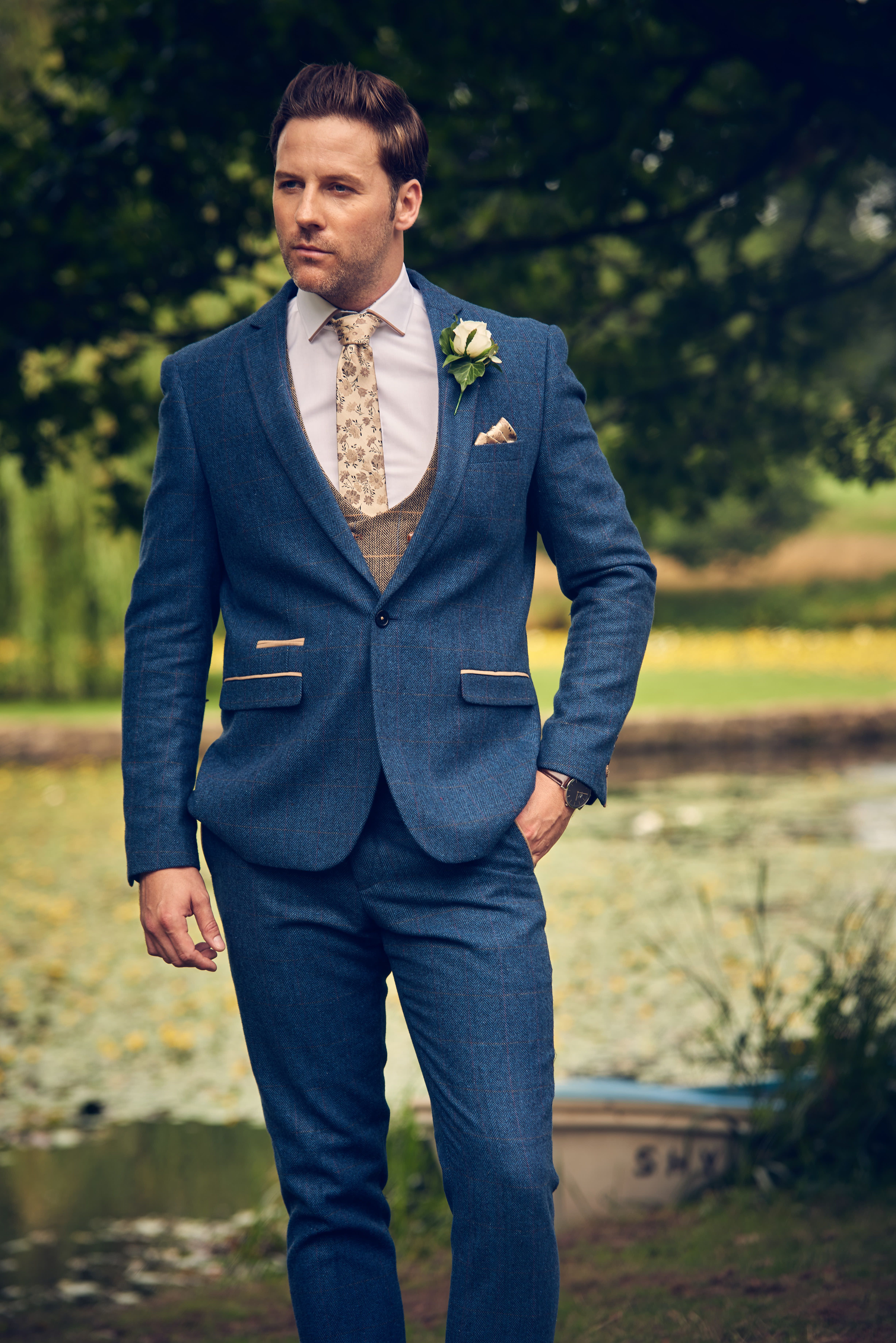 Marc Darcy Dion Tweed Herringbone Blue 3 Piece Suit in