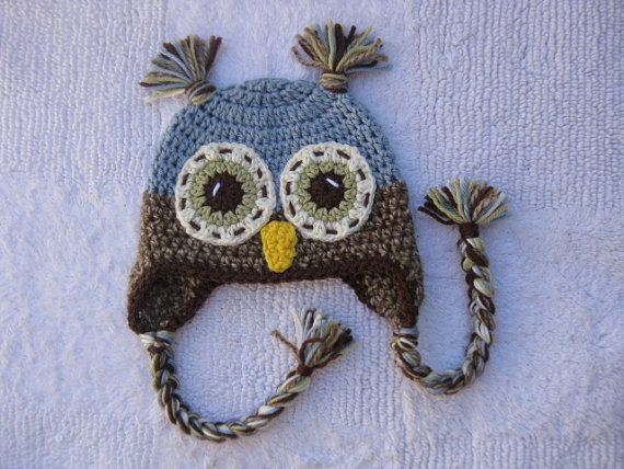 Blue owl hat made to order in any size - newborn to adult x large ...