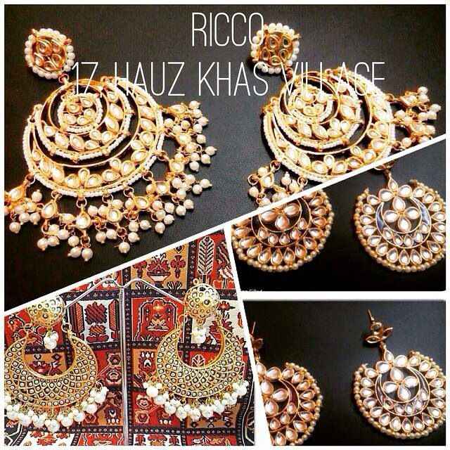 Huge chunky indian earrings. Chand balis with jhumar details. Perfect to compliment any outfit and brighten it up instantly For order/details/customisation contact us on +918800511005 or www.facebook.com/riccoindia or ricco17hkv@gmail.com