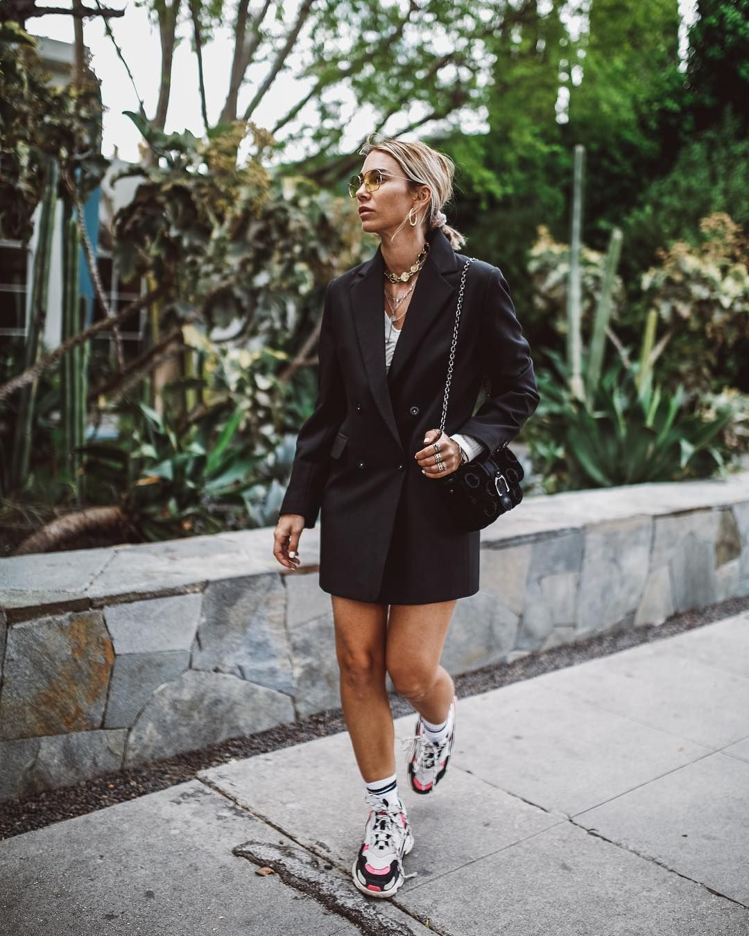 Girlboss Outfit Blazer Dress With Sneakers Dress And Sneakers Outfit Dress With Sneakers Skirt And Sneakers [ 1350 x 1080 Pixel ]
