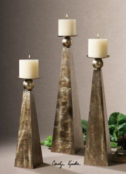 cesano bronze candleholders, set of 3 by Uttermost, available at www.essentialsinside.com $257.40