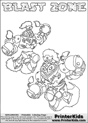 printable or online colorable skylanders swap force coloring page with two colorable variants of the original