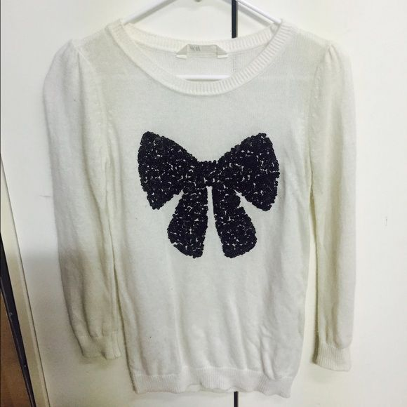 H&M white sweater   White sweaters, Black sequins and Sequins