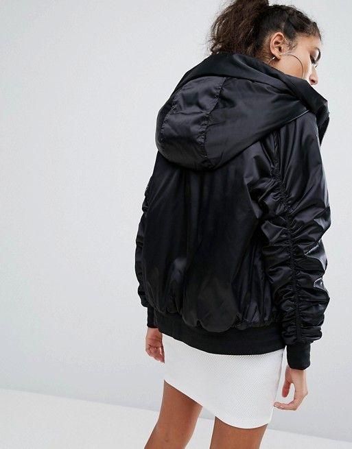 Adidas Originals chaqueta de raso satinado suave ligero EQT de gran tamaño