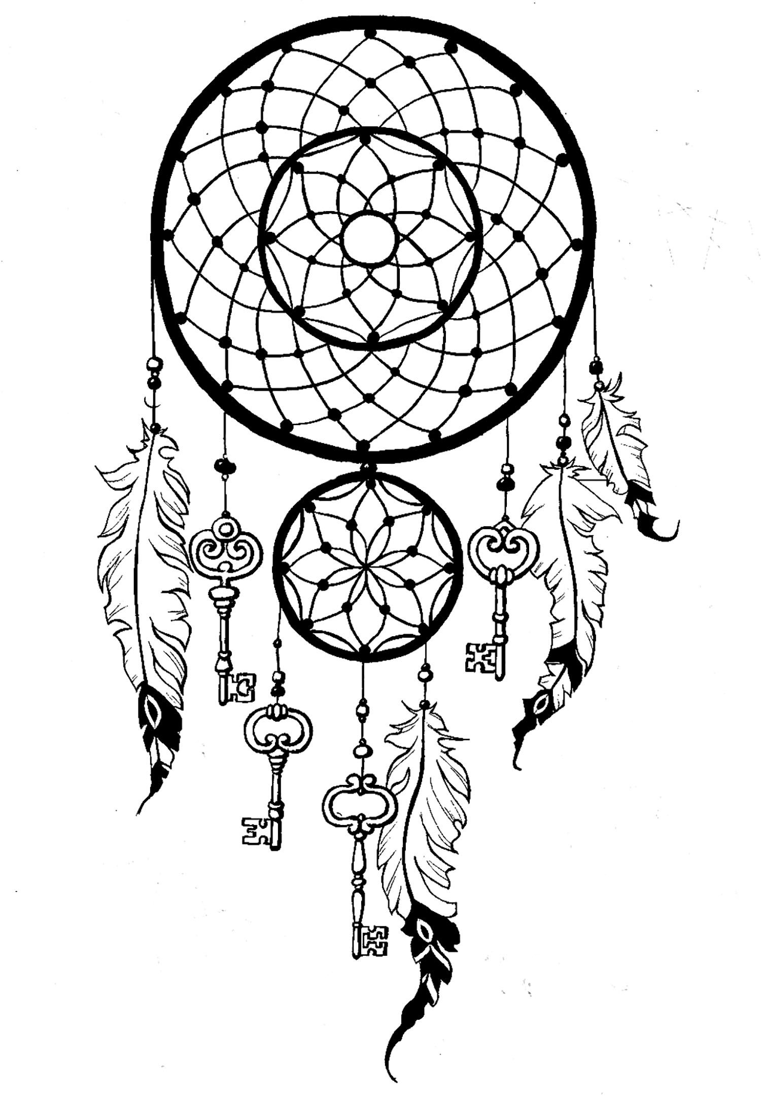 attrape r ve dreamcatcher avec cl s a partir de la galerie anti stress coloriages. Black Bedroom Furniture Sets. Home Design Ideas