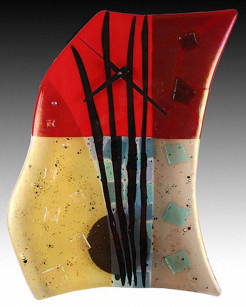 Fire and Water Fused Glass Pendulum Clock: Nina Cambron: Art Glass Clock - Artful Home