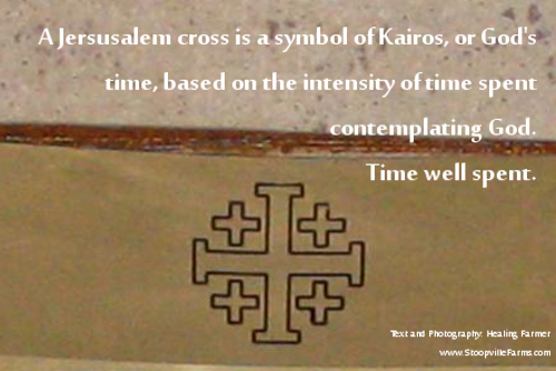 A jerusalem cross is a symbol of Kairos or God's time based on the