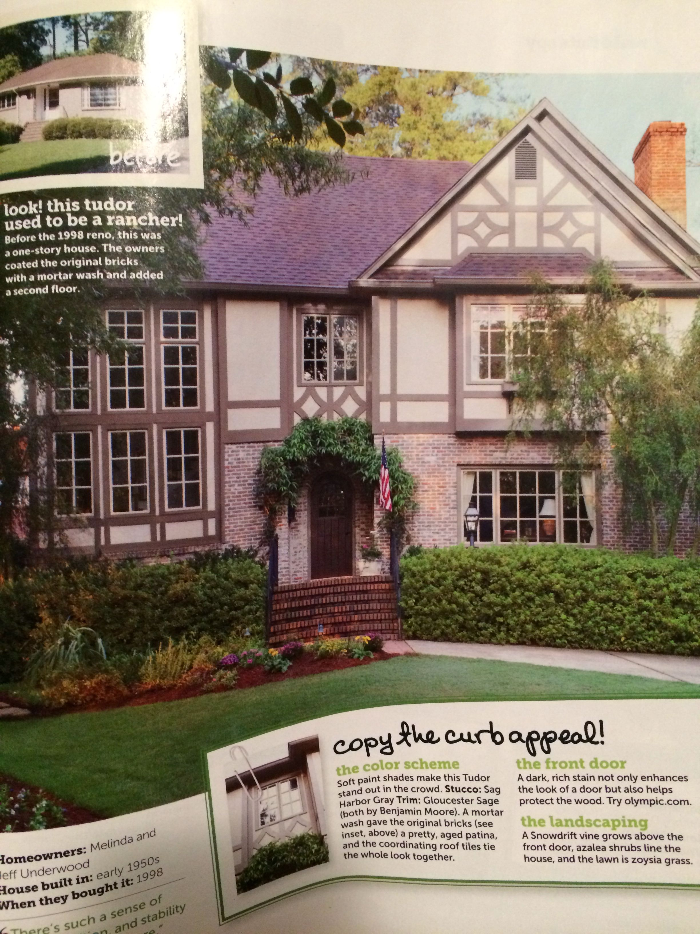 Stucco is sage harbor gray by bm trim is gloucester sage by benjamin moore and the brick was given a mortar wash