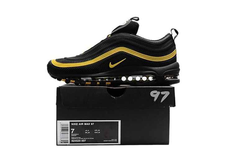 uk availability 59e14 69a0a Newest Nike Air Max 97 Shoes KPU Black Gold For Men