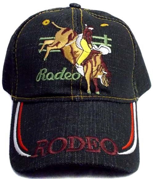 1Pc or Wholesale Lot 6Pcs Rodeo Embroidered Cap - Cowboy Riding Bull (#ERodeo69)