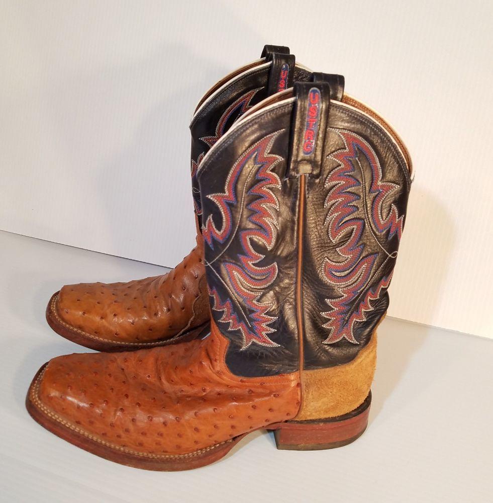 88d6d73d332 Tony Lama USTRC Square Toe Cowboy Western Boots Men's 9.5 EE Full ...