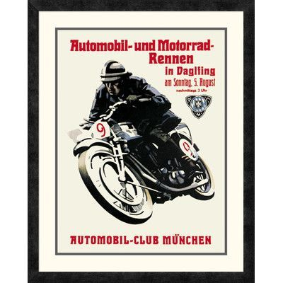 Global Gallery 'Automobile and Motorcycle Race - Munich' Framed Vintage Advertisement Size: