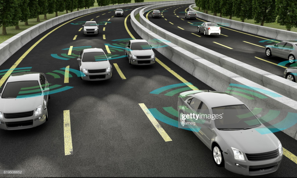 Stock Photo : Autonomous cars on a road with visible connection
