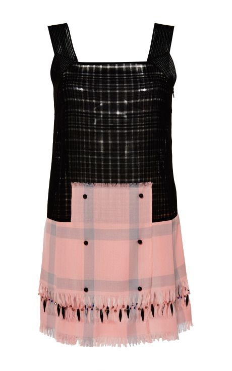 Knitted And Extrafine Checked Wool Embroidered Dress by Marco de Vincenzo - Moda Operandi