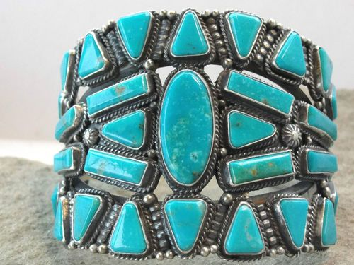 Bijoux, Montres Vintage Navajo Persin Turquoise Argent Sterling With A Long Standing Reputation Bijoux Fantaisie