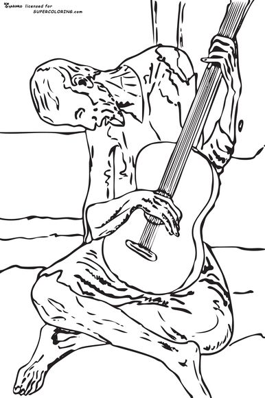 Blue Guitar By Pablo Picasso Coloring Page Picasso Coloring Picasso Paintings Pablo Picasso Paintings