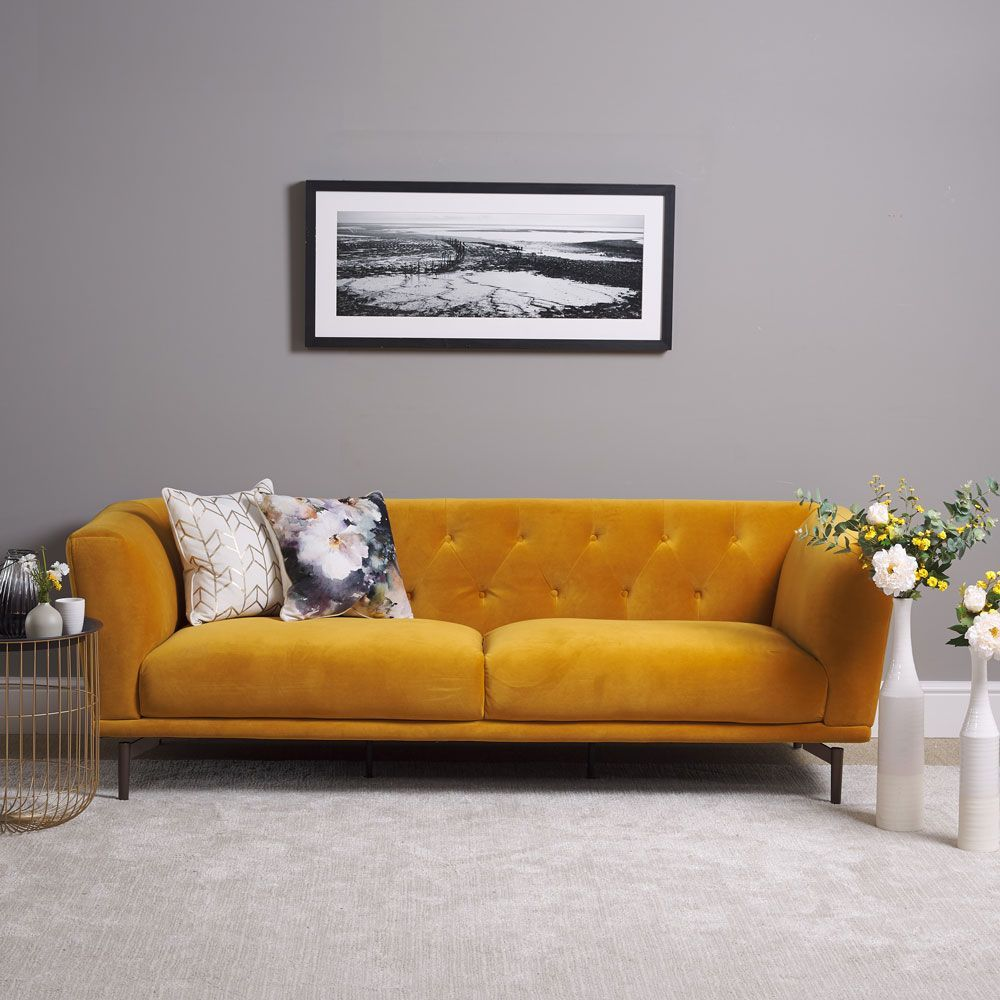 Baron 3 Seater Sofa Mustard In 2020 Living Room Sofa Design Sitting Room Design Velvet Sofa Living Room
