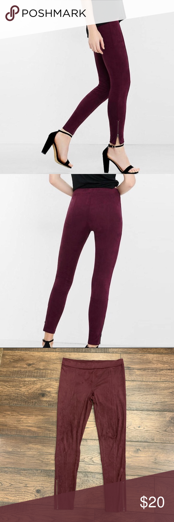 Express Plum Faux Suede Ankle Zip Moto Leggings M Faux Suede Ankle Zip Legging In Plum Color Get Up Close And Personal With Luxe Sed Leggings Are Not Pants Pants For