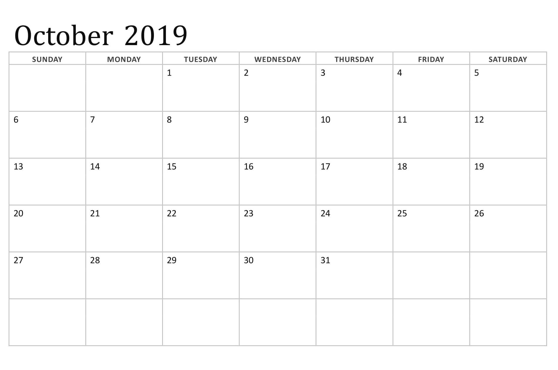 October 2019 Printable Calendar With Editable Notes Holiday