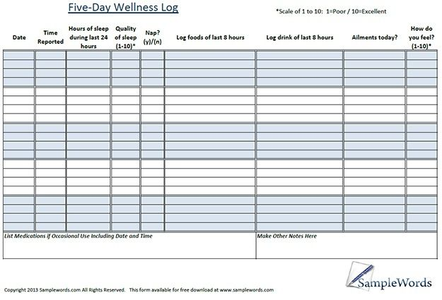 Wellness Chart and Log Printable Pinterest Chart, Logs and