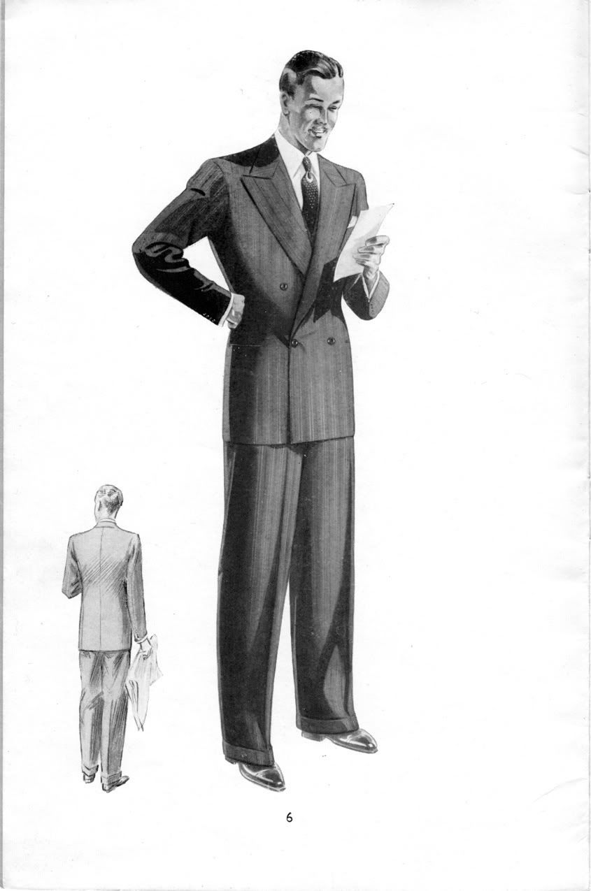 vintage suit illustration, tailored jacket and trousers
