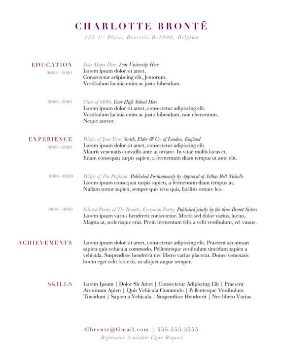 Custom Resume Template - The Charlotte Bronte Resume - Classic - Simple Format For Resume