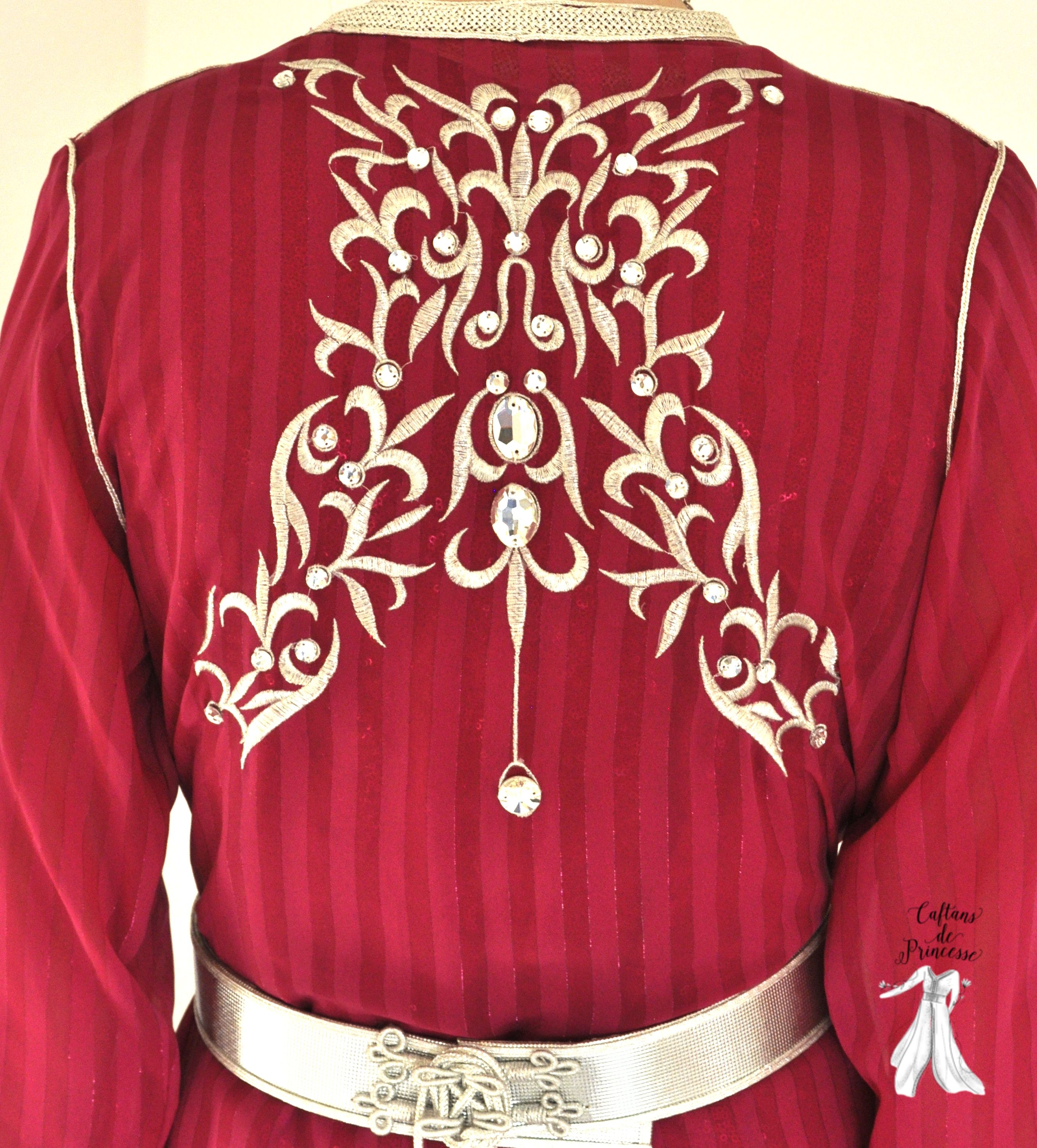 Caftan couleur framboise brod de cristaux swarovski for Couleur framboise