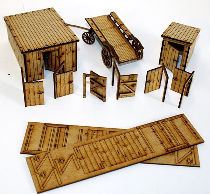 28mm Laser Cut MDF Buildings and Accessories | Laser | Laser