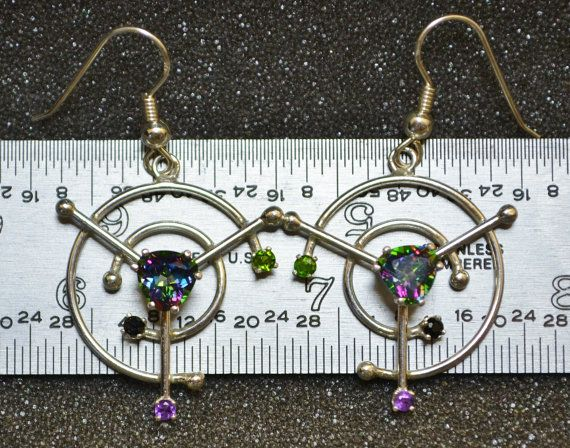 Mystic Topaz Broken Circle Earrings by AngelwearCreations on Etsy
