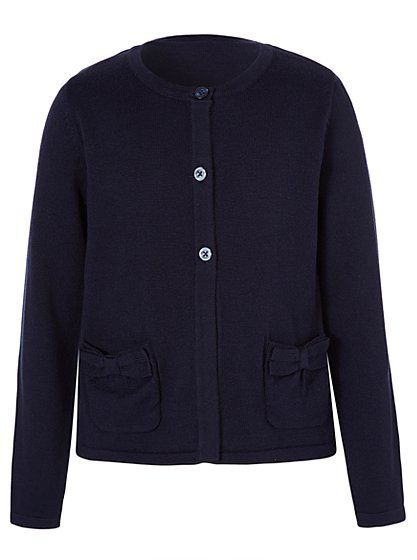 Girls School Bow Pocket Swing Cardigan - Navy, read reviews and ...
