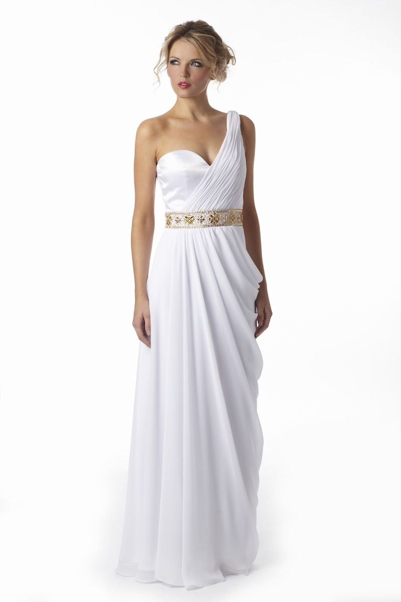 White chiffon grecian evening dresses from verb vintage