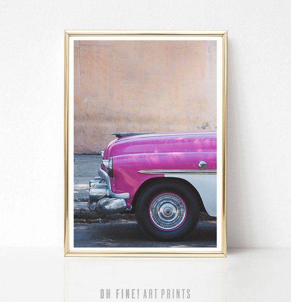 Vintage Car Poster, Wall Art Print, PRINTABLE Art, Digital Download, Mid Century, Classic Car Print, Urban Art, Gift for Her