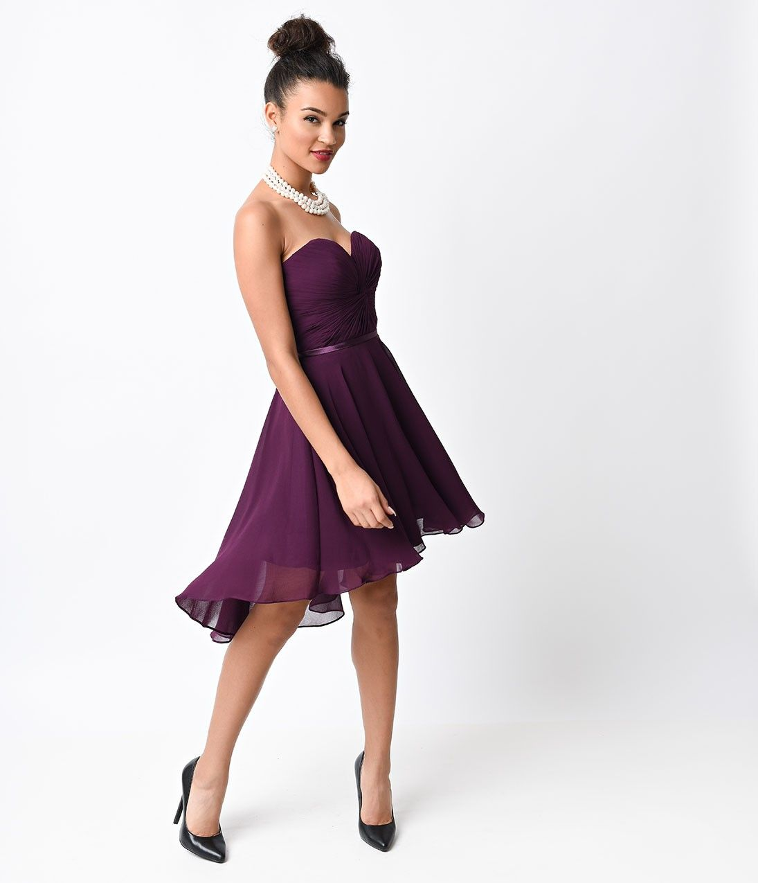 Eggplant chiffon strapless sweetheart corset short dress