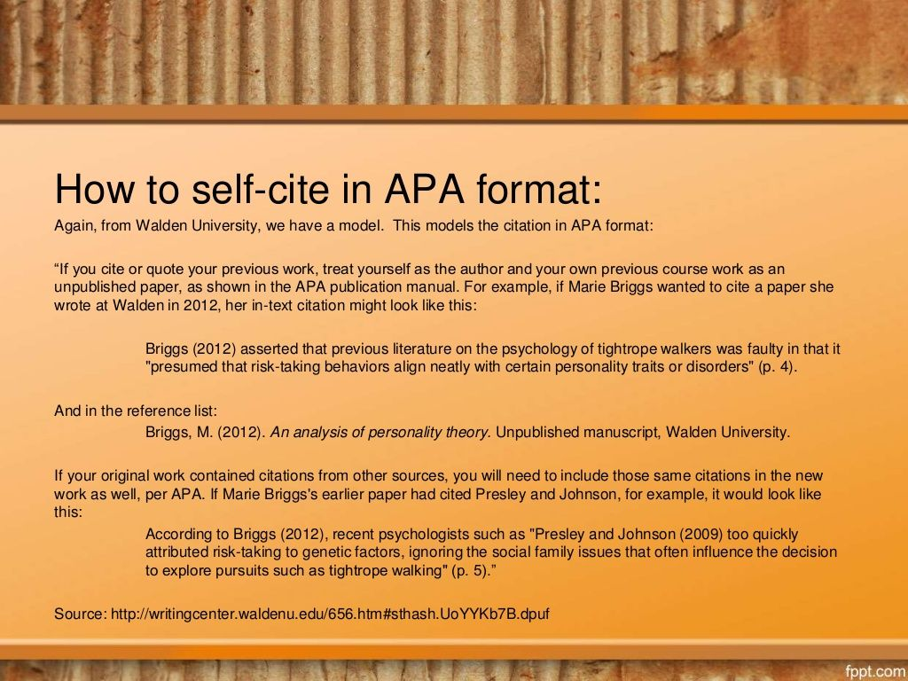 How To Self Cite In Apa Format Again From Walden