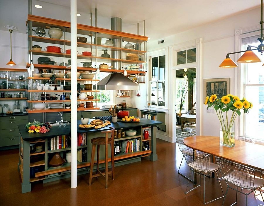 Trendy Display 50 Kitchen Islands With Open Shelving Eclectic