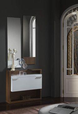 Meuble D Entree Moderne Avec Miroirs Anaelle Coloris Blanc Et Noyer Dizajn Doma Interer Mebel