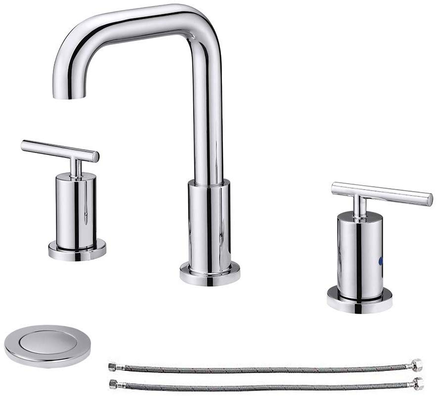Newater 2 Handle 8 Inch Widespread Three Hole Bathroom Sink Faucet With Pop Up Drain 68 99 Amazon Com Not Exact But In 2020 Bathroom Sink Faucets Sink Mixer Taps